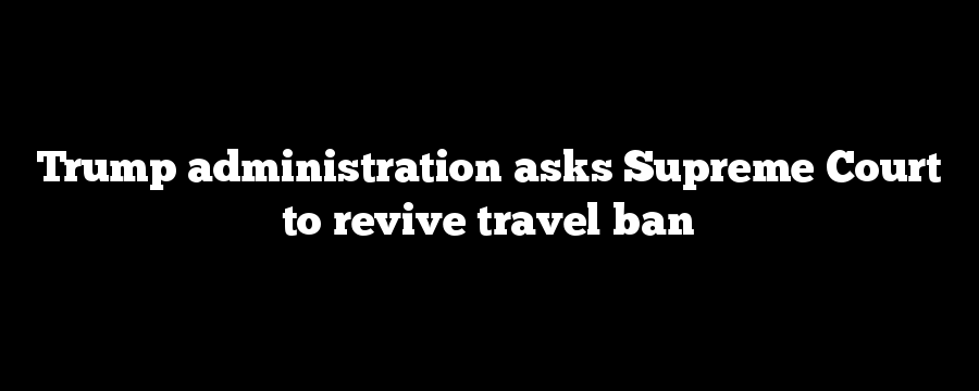 Trump administration asks Supreme Court to revive travel ban